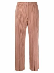 Pleats Please Issey Miyake micro-pleated cropped trousers - NEUTRALS