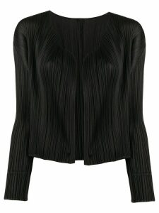 Pleats Please Issey Miyake micro-pleated cropped cardigan - Black