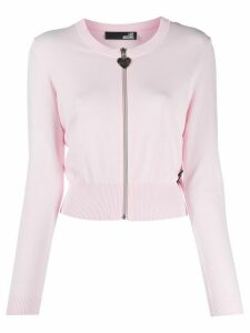Love Moschino zipped knitted cardigan - PINK