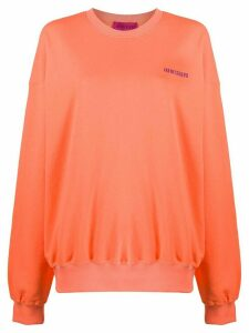 IRENEISGOOD embroidered logo cotton sweatshirt - ORANGE
