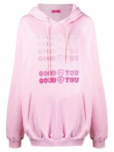 irene is good Goodforyou embroidered cotton hoodie - PINK