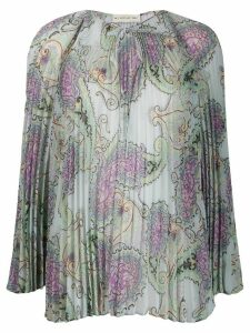 Etro paisley print pleated blouse - Green