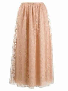 RedValentino floral tulle maxi skirt - NEUTRALS