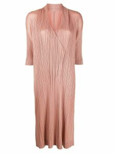 Pleats Please Issey Miyake micro-pleated cardigan coat - PINK