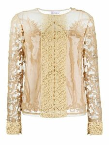 RedValentino panelled lace shirt - NEUTRALS