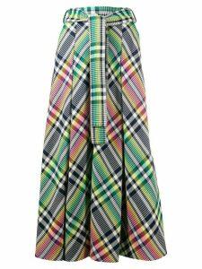 Talbot Runhof belted check maxi skirt - Green