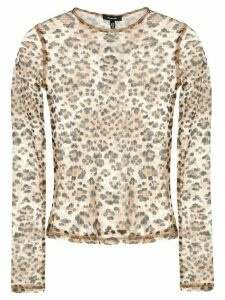 R13 sheer leopard print top - Brown