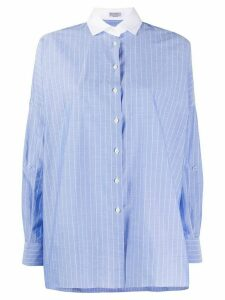 Brunello Cucinelli stripe print shirt - Blue