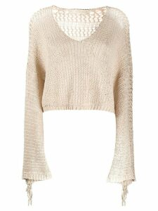 Mes Demoiselles Concha fringed jumper - NEUTRALS