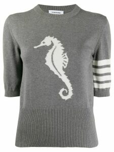 Thom Browne seahorse detail knitted top - Grey