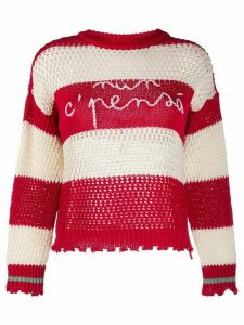 Pinko striped logo jumper - Red