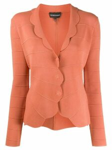 Emporio Armani scalloped hem fitted cardigan - ORANGE
