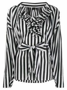 Pinko striped ruffled top - Black