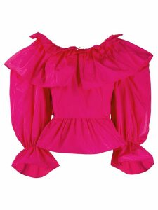 MSGM oversized collar ruffled blouse - PINK