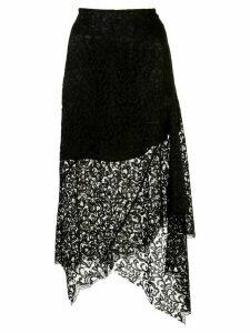 Marques'Almeida asymmetric lace detail skirt - Black