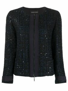 Emporio Armani glitter tweed zip jacket - Blue
