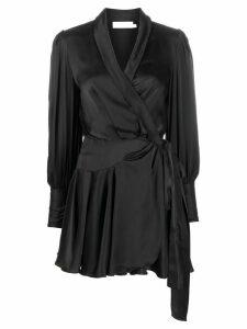 Zimmermann silk wrap-style mini dress - Black