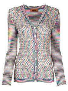 Missoni pointelle panel striped cardigan - Blue