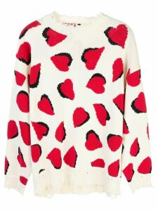 R13 heart pattern jumper - White