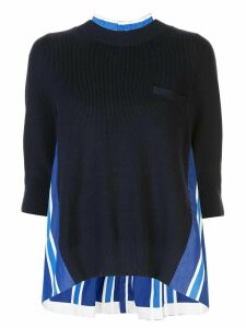 Sacai crew neck pleated shirt sweater - Black