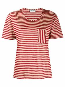 Saint Laurent striped chest pocket T-shirt - Red