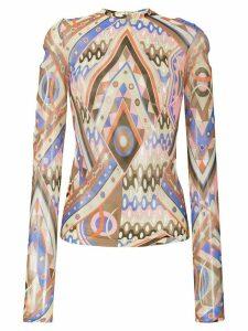 Emilio Pucci V-Vivara print blouse - NEUTRALS