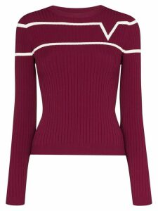 Valentino striped logo-print ribbed-knit jumper - Red