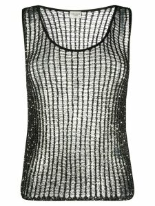 Saint Laurent sequin mesh tank top - Black