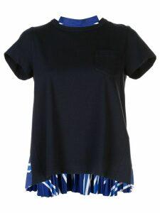 Sacai short sleeve pleated back T-shirt - Blue