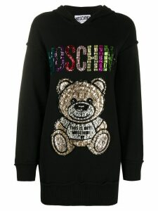 Moschino rhinestone logo teddy long hoodie - Black