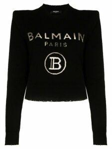 Balmain logo print knitted jumper - Black