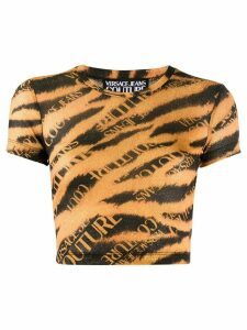 Versace Jeans Couture cropped tiger print top - ORANGE