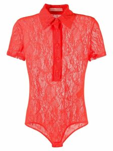 Ssheena polo-neck playsuit - ORANGE