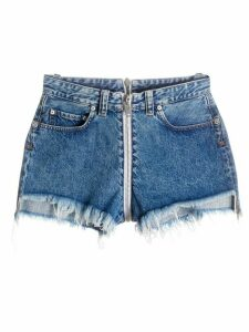 UNRAVEL PROJECT front-to-back raw denim shorts - Blue