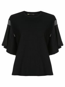 Muller Of Yoshiokubo short sleeve fringed details T-shirt - Black