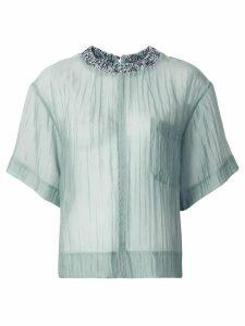 Muller Of Yoshiokubo ribbed trim sheer blouse - Blue