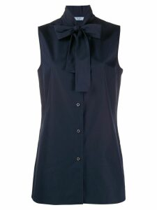 Prada bow neckline sleeveless blouse - Blue