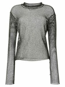 sulvam metallic mesh top - Black