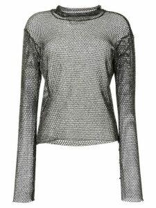 sulvam metallic mesh top - Black
