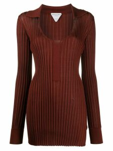 Bottega Veneta scoop neck ribbed long knitted top - Red