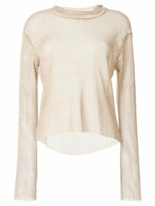 sulvam mesh roll neck top - Brown