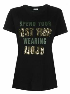 LIU JO sequinned slogan print T-shirt - Black