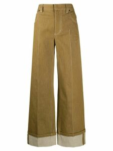 Chloé wide-leg cropped trousers - Brown