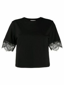 Blumarine lace trim crew neck T-shirt - Black