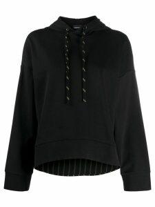 Emporio Armani plain cropped hoodie - Black