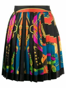 Versace bondage-print pleated skirt - Black