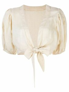 Lisa Marie Fernandez linen cropped blouse - NEUTRALS