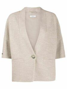 Peserico short sleeved fine knit cardigan - NEUTRALS