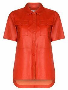STAND STUDIO Danna faux Nappa leather shirt - Red
