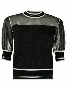 Pinko glittery sheer panelled blouse - Black